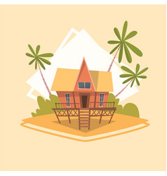Bungalow house icon summer sea vacation concept vector