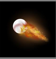 Burning baseball ball with fire flame vector