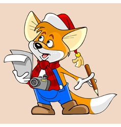 cartoon fox in a Christmas hat and thinks vector image