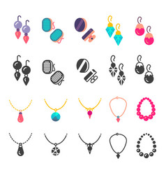 earrings eardrops and necklace icons vector image