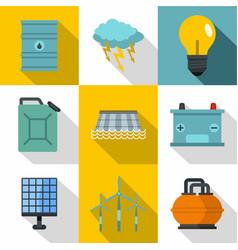 Energetic icon set flat style vector