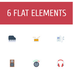 flat icons mp3 player knob audio box and other vector image vector image