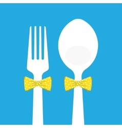 Fork and spoon with butterfly tie on blue vector
