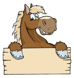 horse with a blank sign vector image vector image