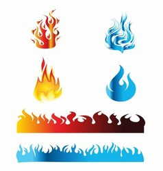 Icon red and blue fire flame vector