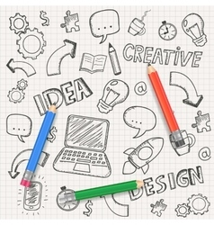 Idea concept with pencils and doodle sketches vector image