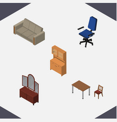 Isometric design set of chair drawer cupboard vector