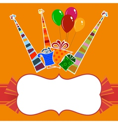 Orange background with striped party hats vector image vector image