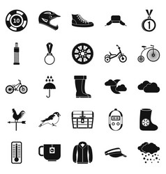 Outdoor sports icons set simple style vector