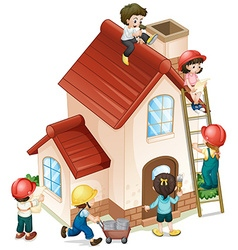People building and painting the house vector image