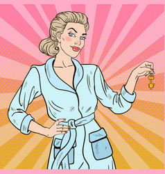 Pop art beautiful blonde woman with key vector