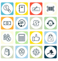 set of 16 e-commerce icons includes black friday vector image vector image