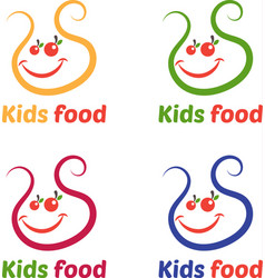 Set of abstract logo with kids bib vector
