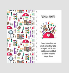 template beauty store with cosmetic objects vector image
