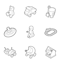 Toys icons set outline style vector