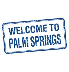 Welcome to palm springs blue grunge square stamp vector