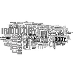 What is iridology text word cloud concept vector