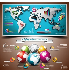 World map design set of infographic elements vector image vector image