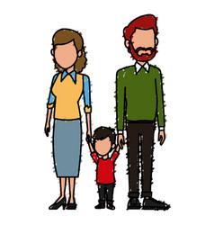 young family cartoon vector image