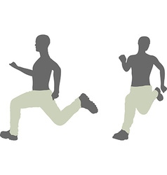Man silhouette in run escape pose vector