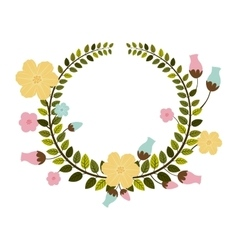 Colorful border of leaves with pastel flowers vector