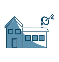 Satellite dish and antenna tv on the house roof vector