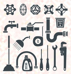 Plumbing service objects and tools vector