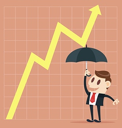 Up yellow arrow economic growth vector image