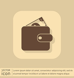 Purse sign symbol icon purse and dollar money in vector