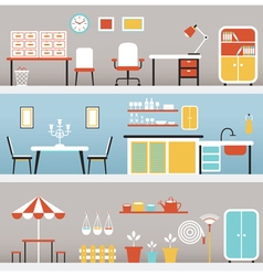 Furniture in office kitchen outdoor vector