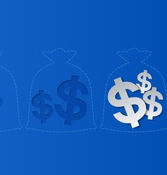 Dollar signs and money bags blue background vector