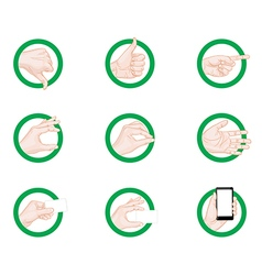 Business hand gestures icons green vector