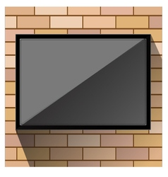 Tv on wall orange brick vector