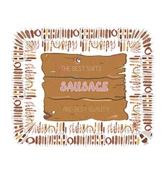 Sausages label or banner design with wood texture vector