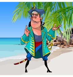 Cartoon pirate with a sword on a tropical shore vector