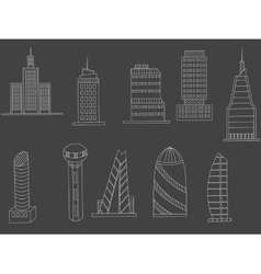 Tall buildings chalk vector