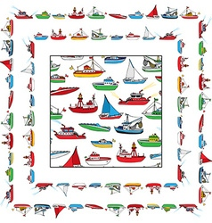 set of seamless nautical pattern and frames vector image