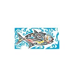 Giant Trevally Side Tribal Art vector image