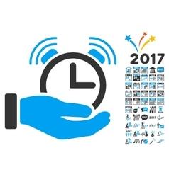 Alarm service icon with 2017 year bonus symbols vector