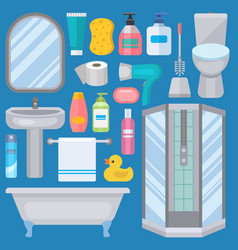 Bath equipment icons made in modern shower flat vector