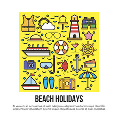 beach holidays information banner vector image vector image