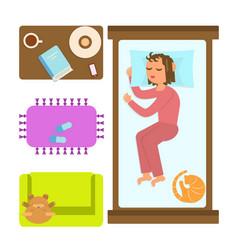 Bedroom with sleeping woman vector