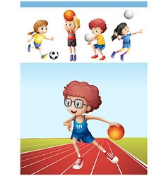Boy playing basketball and other sports vector