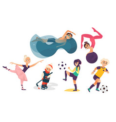 cartoon kids doing sports set vector image