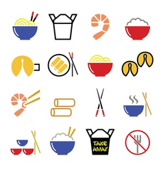 Chinese take away food icons - pasta rice spring vector