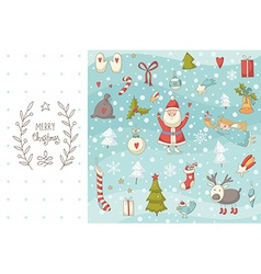 Christmas doodle set with Santa Claus vector image
