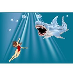 diver and shark vector image vector image
