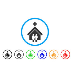 Family church rounded icon vector