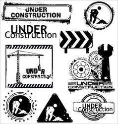 grunge under construction vector image vector image