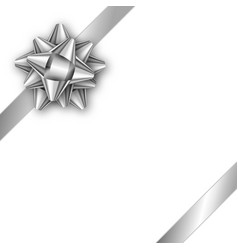 holiday gift card with silver ribbon and bow vector image